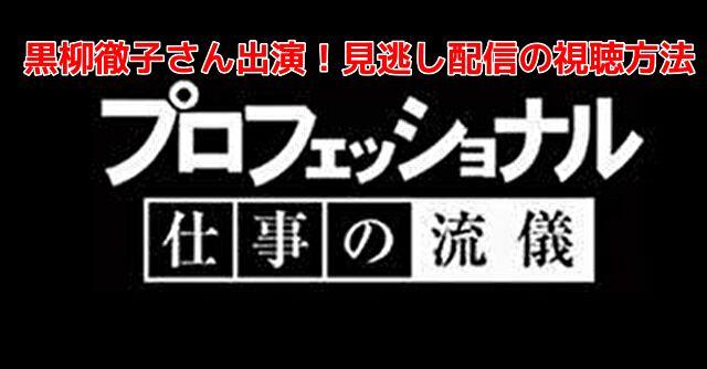 プロフェッショナル(黒柳徹子)見逃し配信フル動画!再放送の視聴方法を紹介